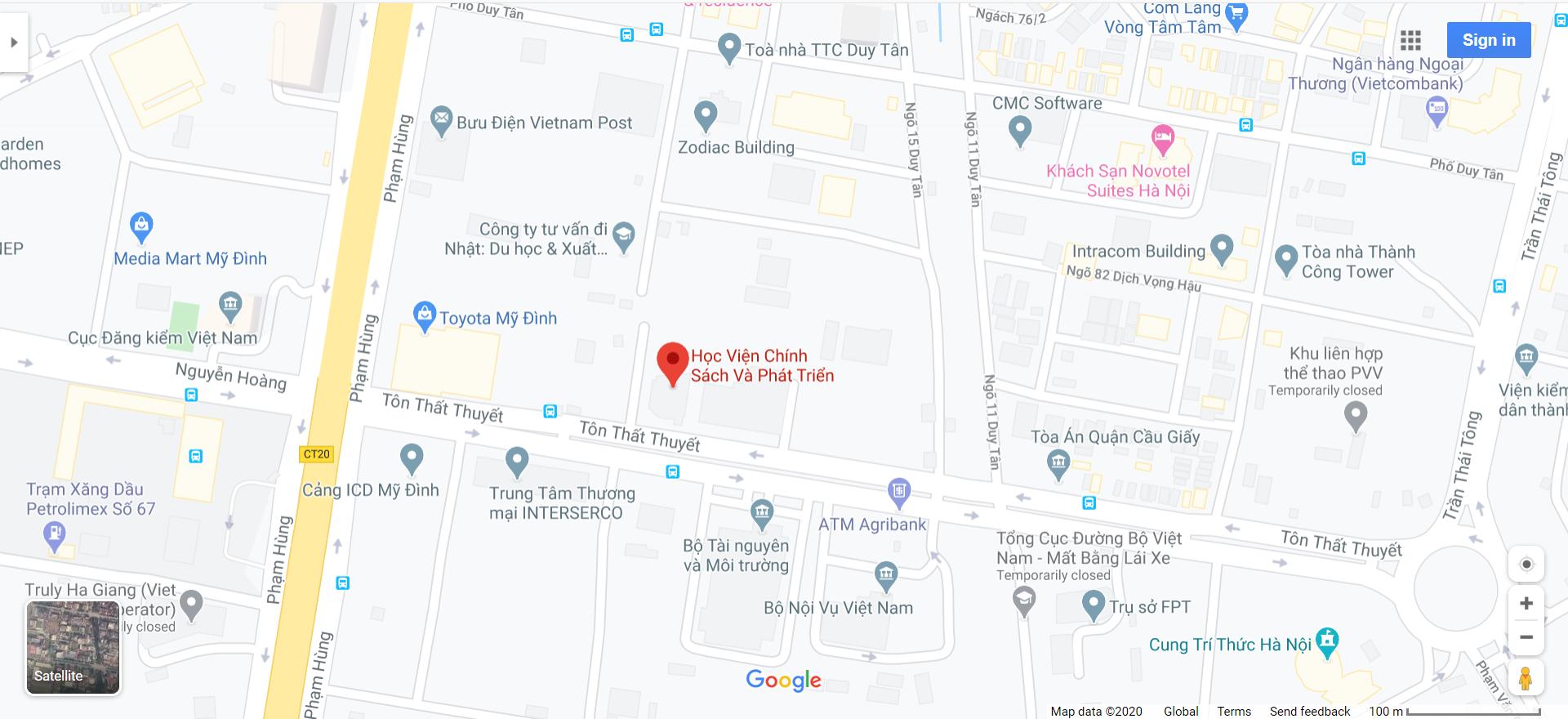 Bản đồ Học viện Chính sách và Phát triển